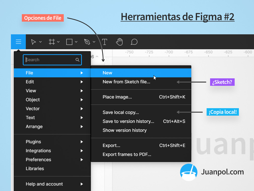 menu file herramientas figma