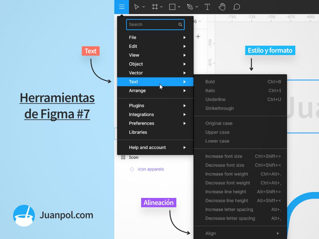 menu text herramientas figma