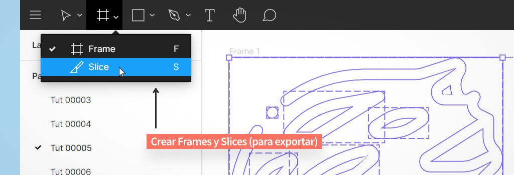 crear frames y slices para exportar