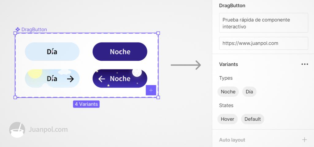 variants de un componente interactivo de figma